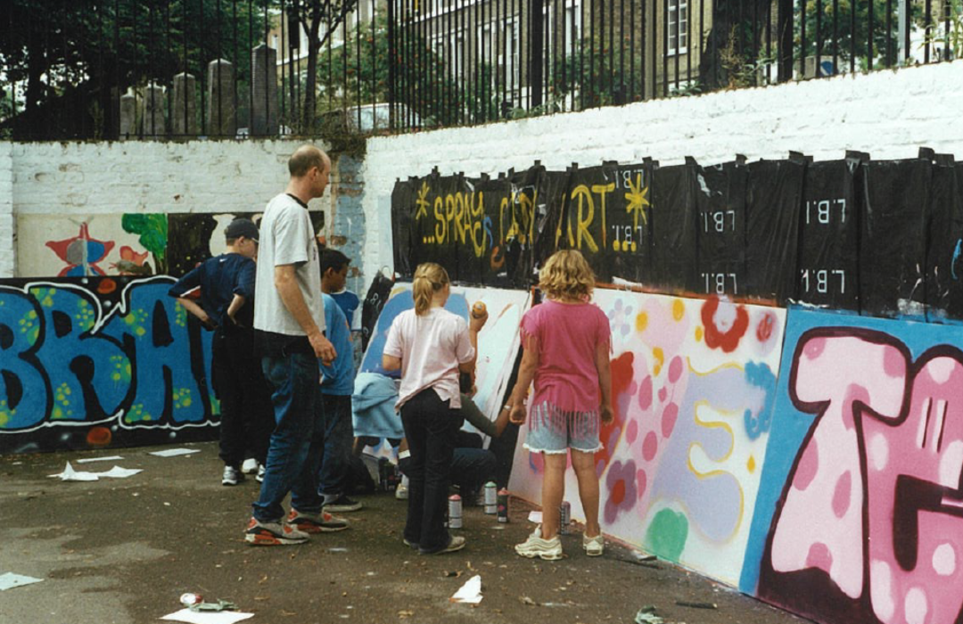 Children painting the walls of Barnard