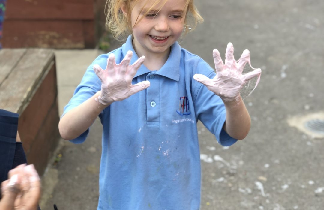 girl with slime on her hands